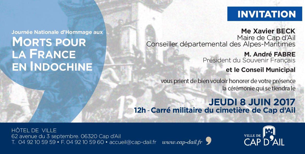 8 juin Hommage aux Morts pour la France en Indochine